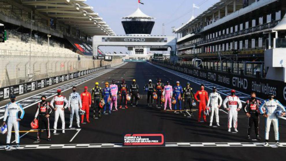 Los pilotos de F1 2020 en Abu Dabi.