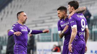 Los jugadores de la Fiorentina celebran su triunfo ante la Juventus