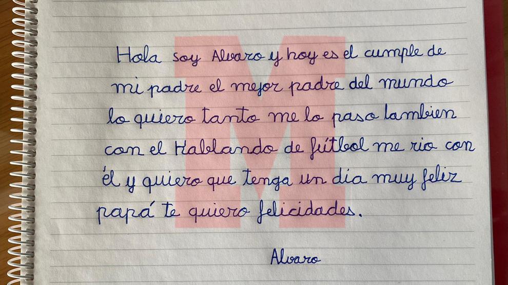 La carta de Álvaro a su padre escrita de su puño y lera.