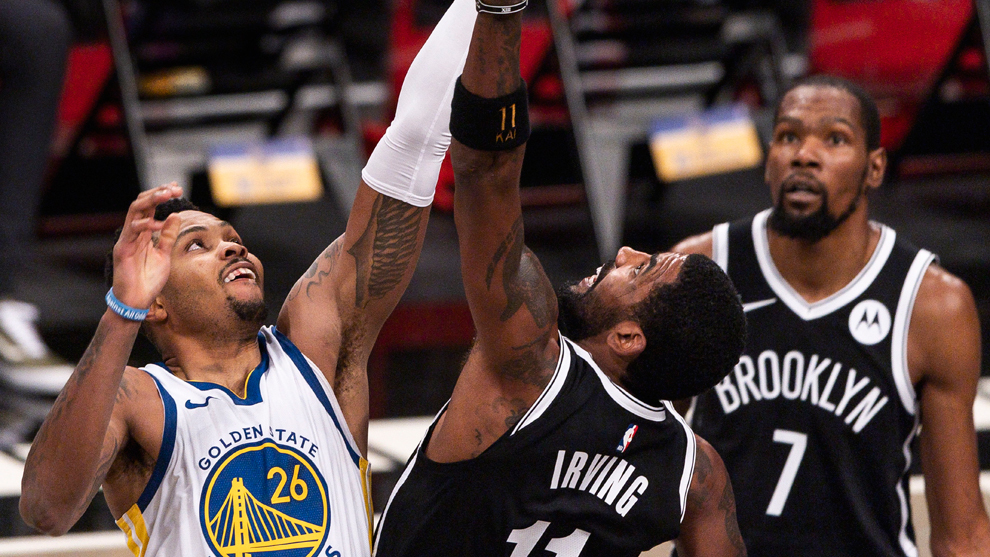 Kevin Durant and Kyrie Irving dominate Warriors in Nets opener