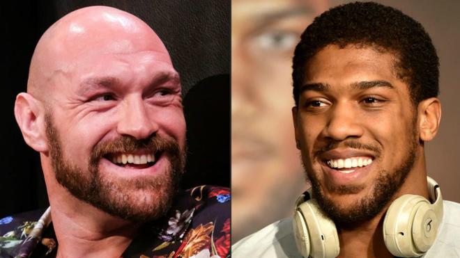 A la izquierda, Tyson Fury, y a la derecha, Antonhy Joshua.