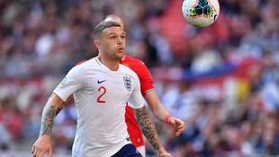 Trippier en un partido con la selección inglesa.