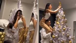 El extravagante árbol de Navidad de Reguilón y su novia Marta