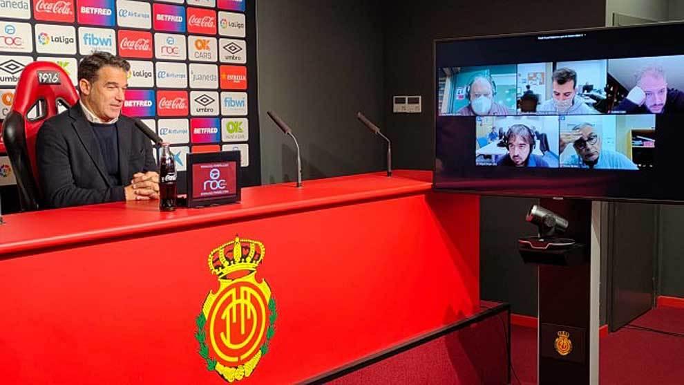 Luis García, durante la rueda de prensa posterior al ultimo partido...