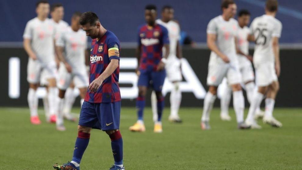 Messi durante el partido contra el Bayern