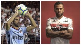 Juanfran y Dani Alves con Sao Paulo.