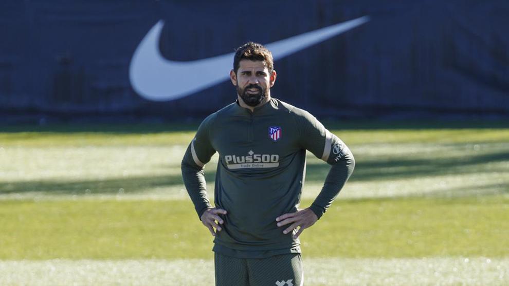 Diego Costa en un entrenamiento de esta temporada