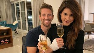 Romain Grosjean junto a su mujer, Marion Jolles