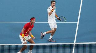 Nadal y Carreño, en un dobles de la última ATP Cup