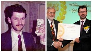 Bill Benter de joven y más recientemente entregando el cheque del...
