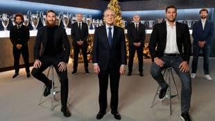 Florentino Pérez, junto a Zidane, Laso, Ramos, Marcelo, Reyes y...