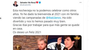 Salvador Illa felicita a Ibai Llanos por sus Campanadas