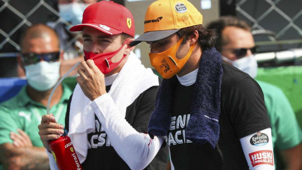 Sainz y Leclerc, durante el pasado Gran Premio de Italia.