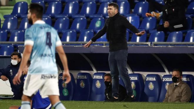 Coudet, durante el partido ante el Getafe.