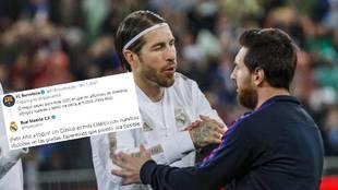 Ramos y Messi se saludan.