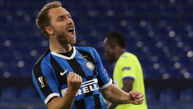 Erikse celebra un gol logrado con el Inter.