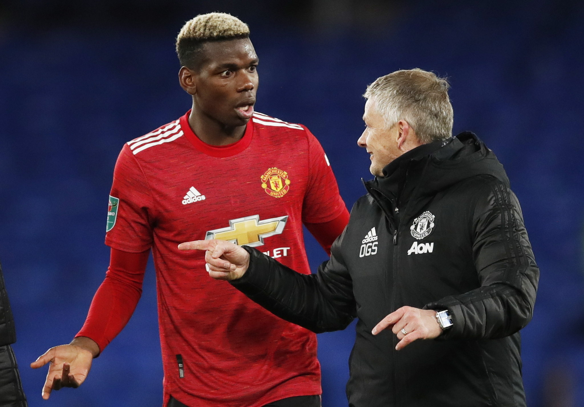 Liverpool (United Kingdom), 23/12/2020.- Manchester United manager Ole Gunnar lt;HIT gt;Solskjaer lt;/HIT gt; (R) speaks to Paul Pogba after the Carabao Cup quarter final mach between Everton and Manchester United in Liverpool, Britain, 23 December 2020. (Reino Unido) EFE/EPA/Clive Brunskill / POOL EDITORIAL USE ONLY. No use with unauthorized audio, video, data, fixture lists, club/league logos or 'live' services. Online in-match use limited to 120 images, no video emulation. No use in betting, games or single club/league/player publications