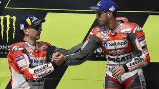 Jorge Lorenzo y Andrea Dovizioso, en su época juntos en Ducati en...