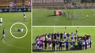 Tremendo susto en Portugal: Un jugador se desploma y todos le rodean rezando por su salud