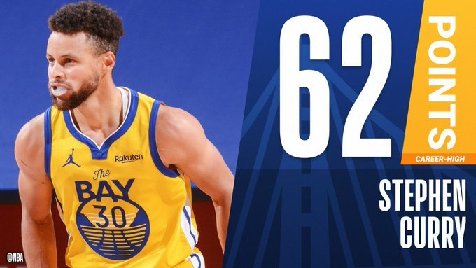 Stephen Curry scores career-high 62 points to down Blazers
