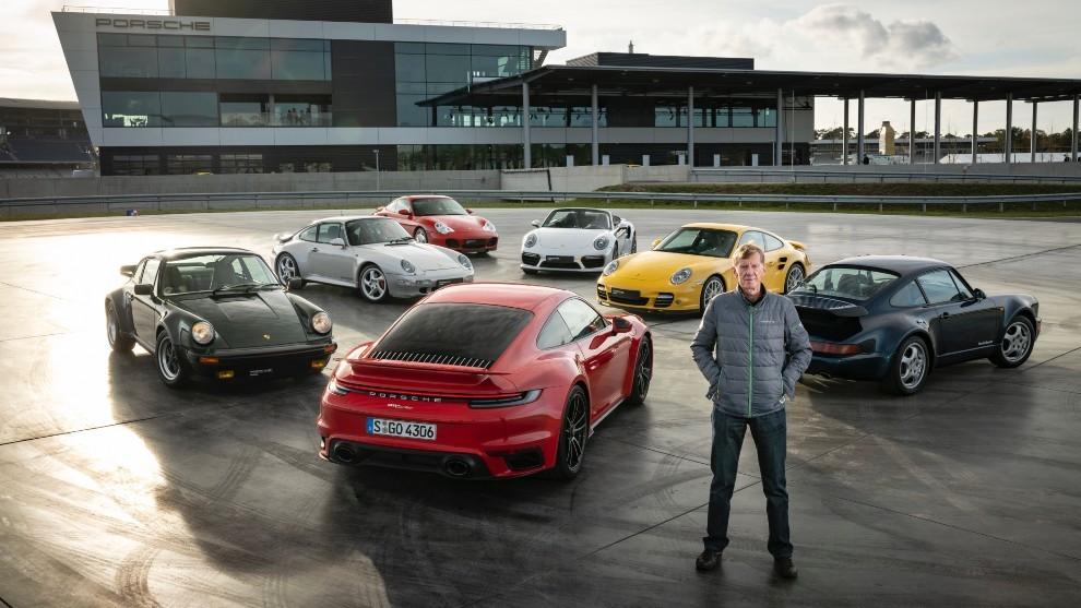 Walter Rohl, junto a todas las generaciones del Porsche 911 Turbo.