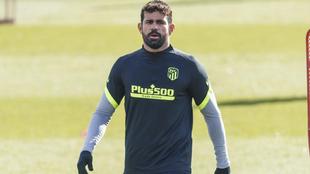 Diego Costa durante un entrenamiento del Atlético.