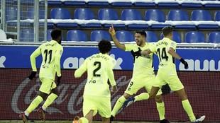 Suárez celebra su gol ante el Alavés.