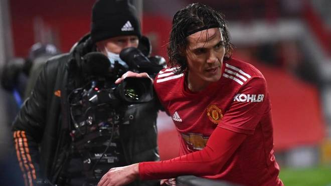 Edinson Cavani with Manchester United.