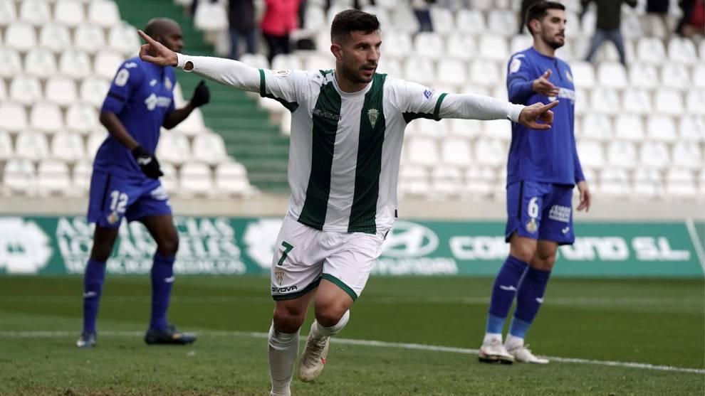 Willy Ledesma celebra el gol del triunfo del Córdoba