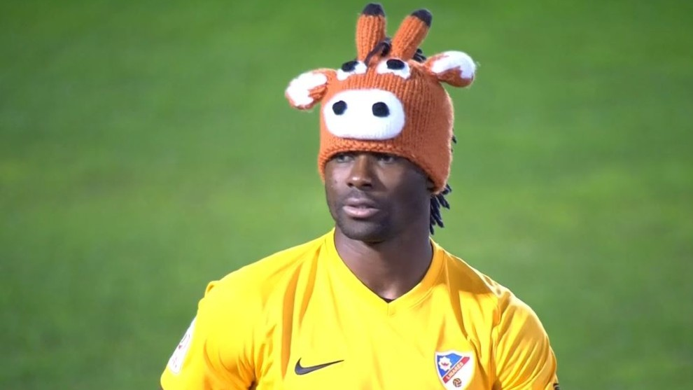 Razak Brimah with his reindeer hat