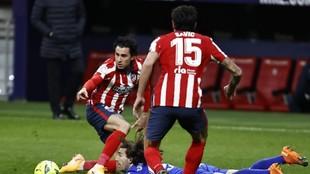 Giménez, en un partido del Atlético.