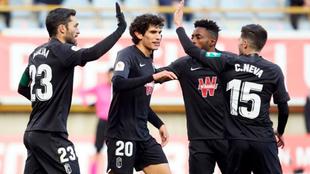 Los jugadores del Granada celebran el gol de Molina