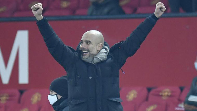 Guardiola celebra el pase a la final del City.