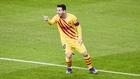 Messi celebra uno de los goles.