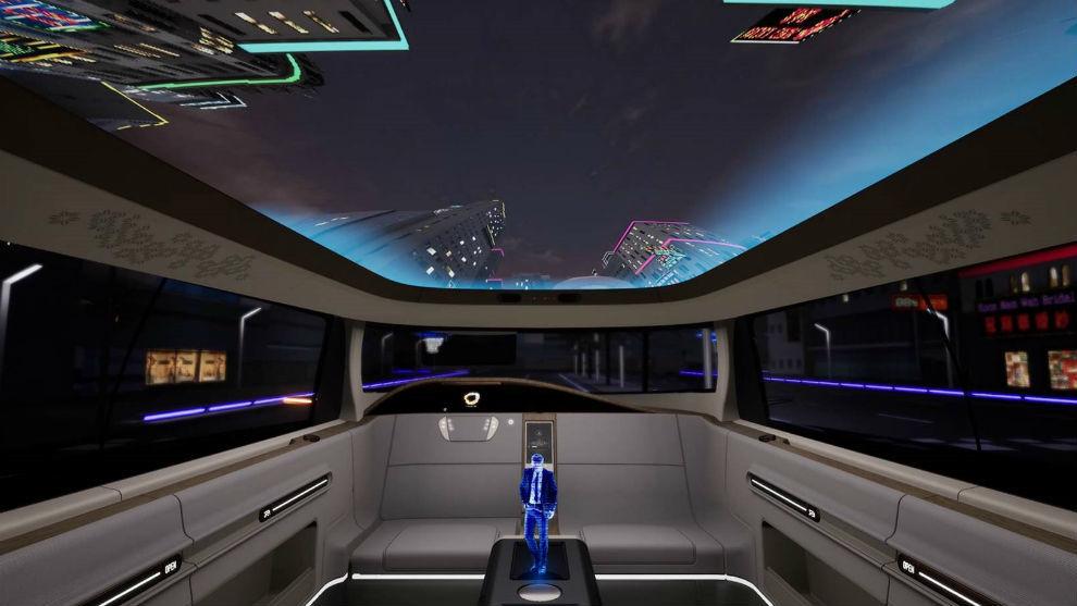 Las imágenes del exterior se proyectan en el techo para una mejor experiencia de conducción.