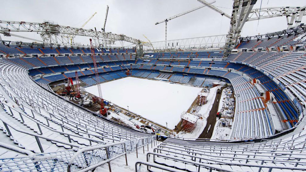 Estadio Santiago Bernabeu turf covered in snow