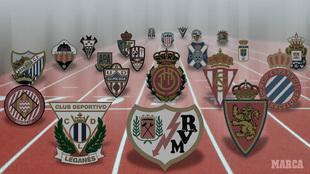 Imagen genérica con los clubes de Segunda.