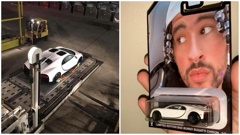 El Bugatti Chiron de Bad Bunny y su reproducción en miniatura hecha por Luisfe.