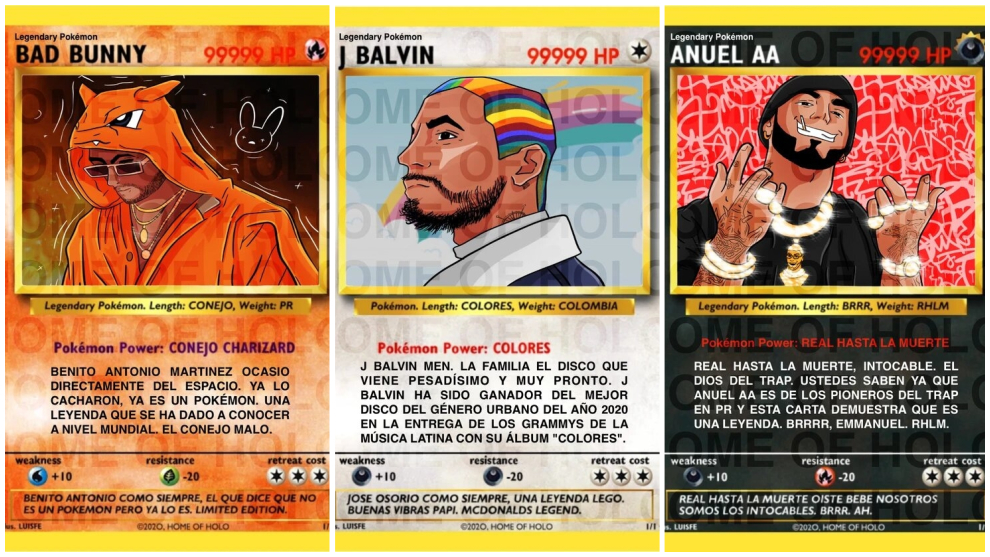 Cromos holográficos de Bad Bunny, J Balvin y Anuel hechos por Luisfe.