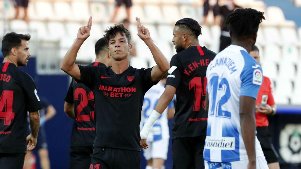 El sevillista Óliver Torres (26) celebra su gol ante el Leganés.