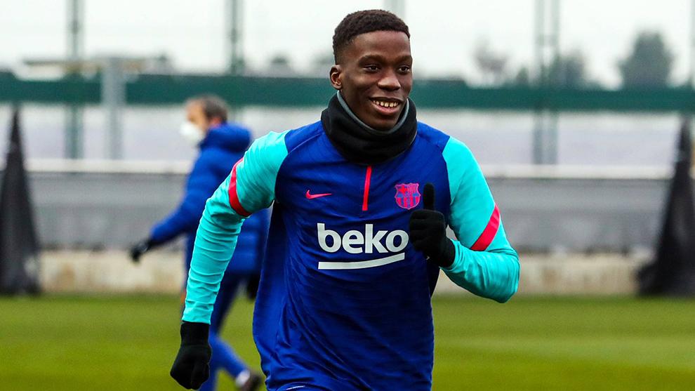Ilaix Moriba in training