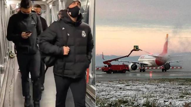Real Madrid land in Pamplona after being stuck on the plane for over four hours