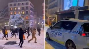 Batalla campal nocturna de bolas de nieve en el centro de Madrid... y la Policía tiene que aparecer