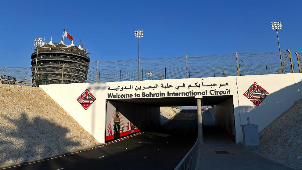 La entrada al Circuito Internacional de Bahréin.