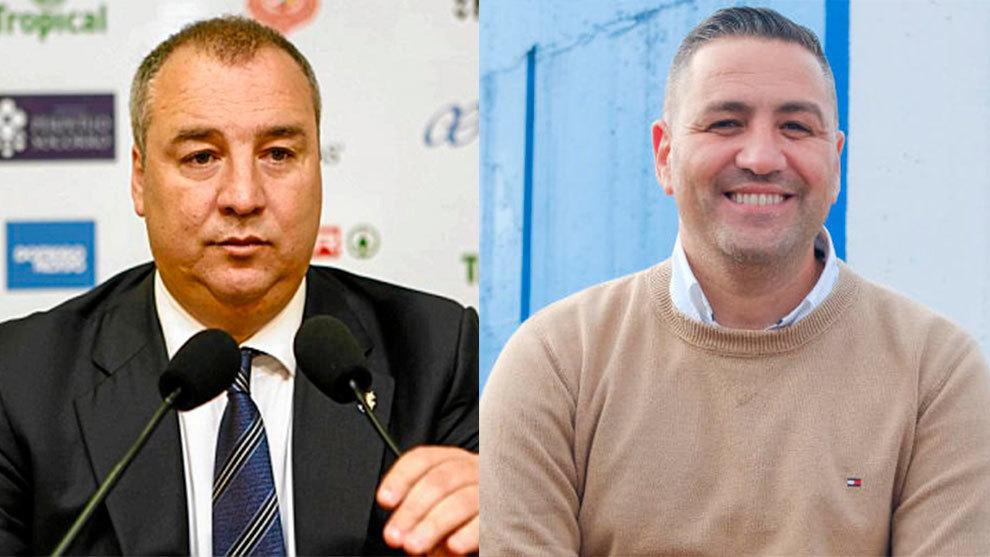 Miguel Ángel Ramírez, presidente de Las Palmas, y Héctor Ramírez,...