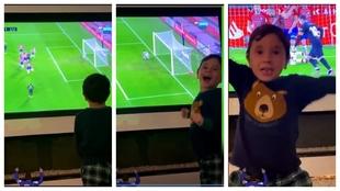 Mateo Messi nunca defrauda: así fue su locura al celebrar el segundo gol de su padre