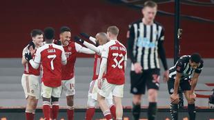 Festejo del Arsenal ante el Newcastle en la FA Cup.