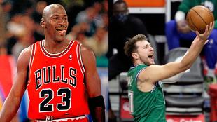 Michael Jordan 'mira' cómo se acerca Luka Doncic en la...