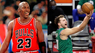 Michael Jordan 'mira' cómo se acerca Luka Doncic en la carrera...
