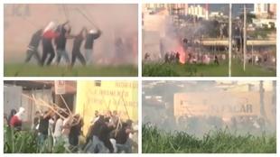 La batalla entre las 'torcidas' de Sao Paulo y Santos.